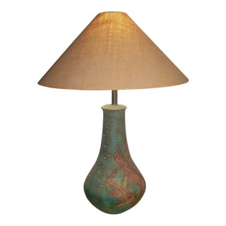 Marcello Fantoni for Raymor Large Turquoise Pottery Lamp