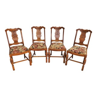English Tiger Oak Floral Carved Dining Chairs - Set of 4 For Sale