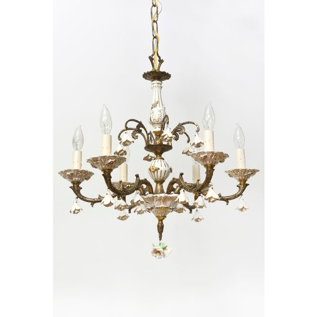Six Light Italian Porcelain and Brass Chandelier - Image 2 of 4