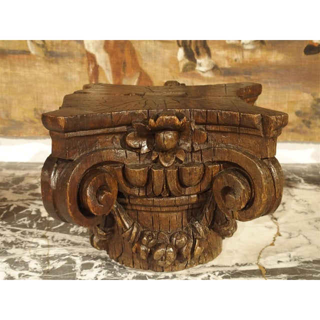Oak Small 18th Century French Oak Column Capital For Sale - Image 7 of 8