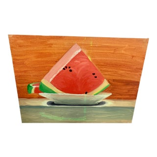 Mid 20th Century Watermelon Still Life Acrylic Painting For Sale