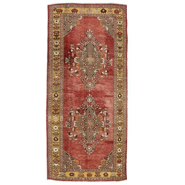 Mid 20th Century Vintage Turkish Oushak Wide Hallway Runner Rug - 5′1″ × 11′2″ For Sale - Image 5 of 5