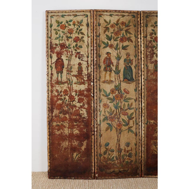 19th Century English Renaissance Revival Leather Painted Screen For Sale - Image 4 of 13