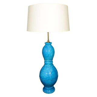 Italian Blue Incised Ceramic Table Lamp by Raymor For Sale