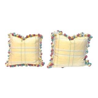Vintage Plaid Yellow Silk & Tassel Pillows - A Pair For Sale
