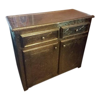 Moroccan Metal Inlaid Cabinet For Sale