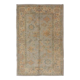 Keivan Woven Arts, En-816, Vintage Turkish Oushak Rug-4'2 X 6'8 For Sale