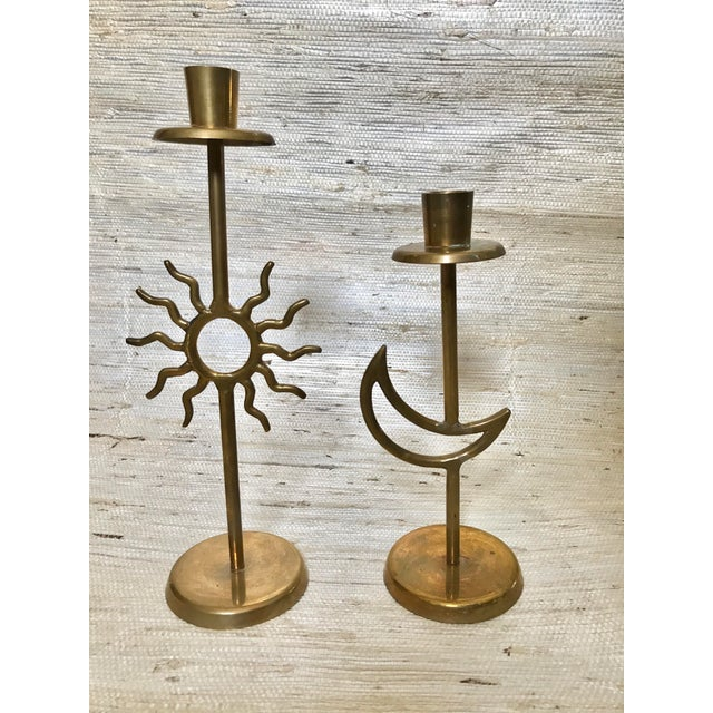 Vintage Sun & Moon Brass Candle Holders - A Pair - Image 2 of 5