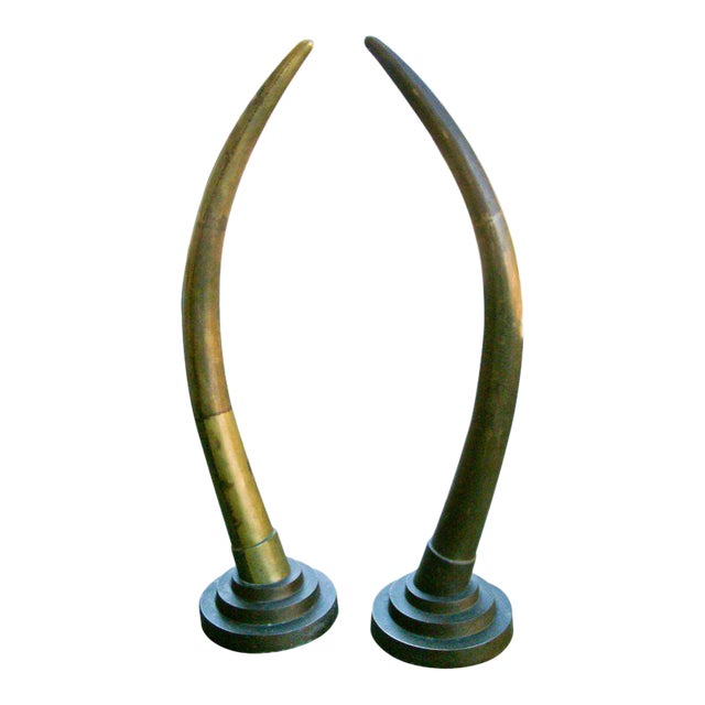 Circa 1970, Contemporary, Yellow, Bronze, Elephant Tusks - a Pair For Sale