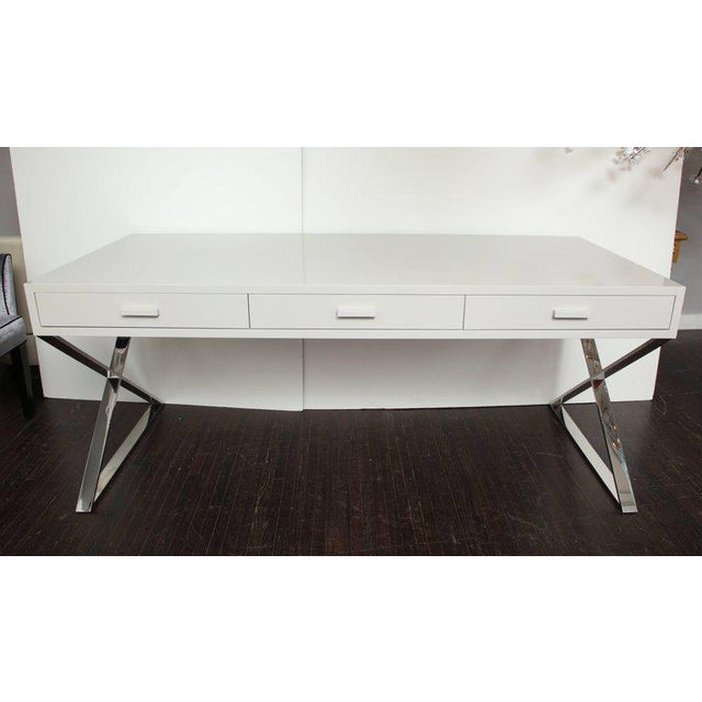 Silver Custom Oversized High Gloss Lacquer Desk For Sale - Image 8 of 10