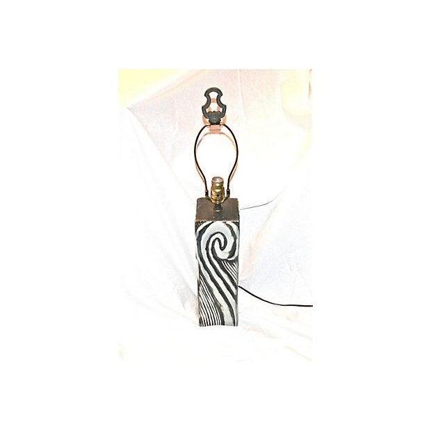 Gray Swirl Mid-Century Table Lamp - Image 2 of 11