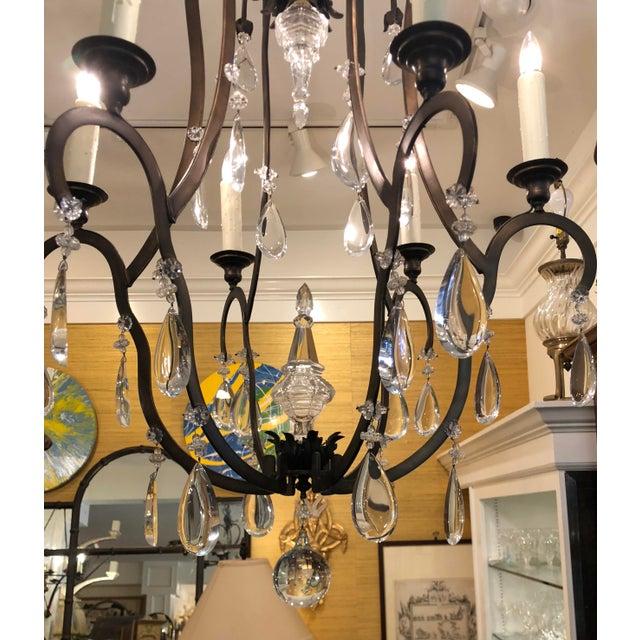 Dennis & Leen Superb Dennis & Leen Bronze & French Crystal Chandelier For Sale - Image 4 of 5