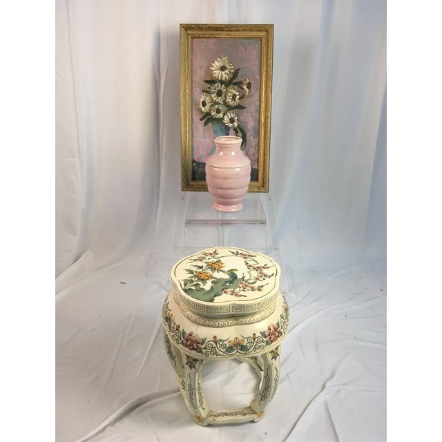 Shabby Chic Vintage Floral Soft Pastels Oil Painting For Sale - Image 3 of 11