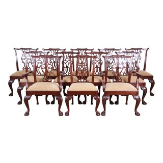 Baker Furniture Stately Homes Chippendale Carved Mahogany Dining Chairs - Set of 12 For Sale