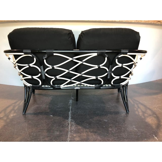 David Francis David Francis Outdoor Black and White Loveseat For Sale - Image 4 of 7