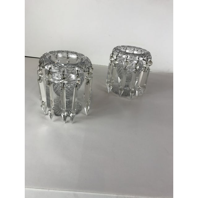 Vintage Crystal Girandoles /Luster Candle Holders - a Pair For Sale In Los Angeles - Image 6 of 12