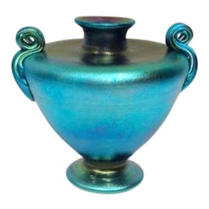 Tiffany Blue Favrile Squat Grecian Urn Vase With Ribbed Scroll Handles For Sale