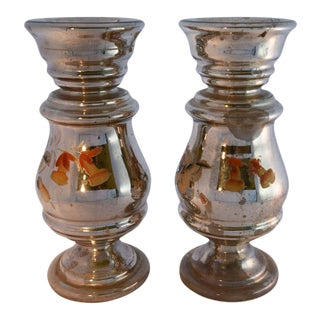 Hand Painted Mercury Glass Candlesticks - a Pair For Sale