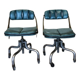 1960s Vintage Teal Desk Chairs- a Pair For Sale