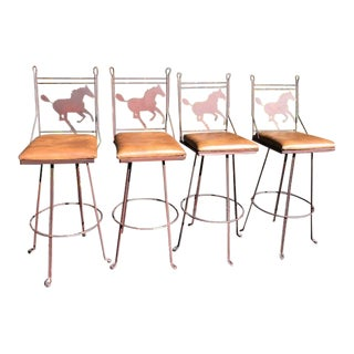 Vintage Mid Century Pony Bar Stools- Set of 4 For Sale