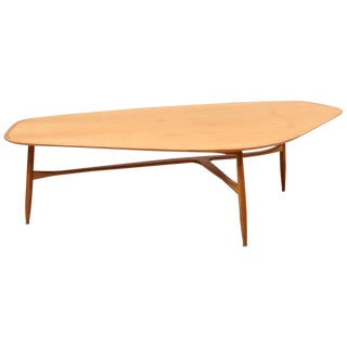 Large Boomerang-Shaped Coffee Table With Polished Blonde Teak Wood by Laauser For Sale