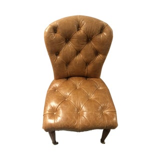 Edward Farrell Leather Side Chair For Sale