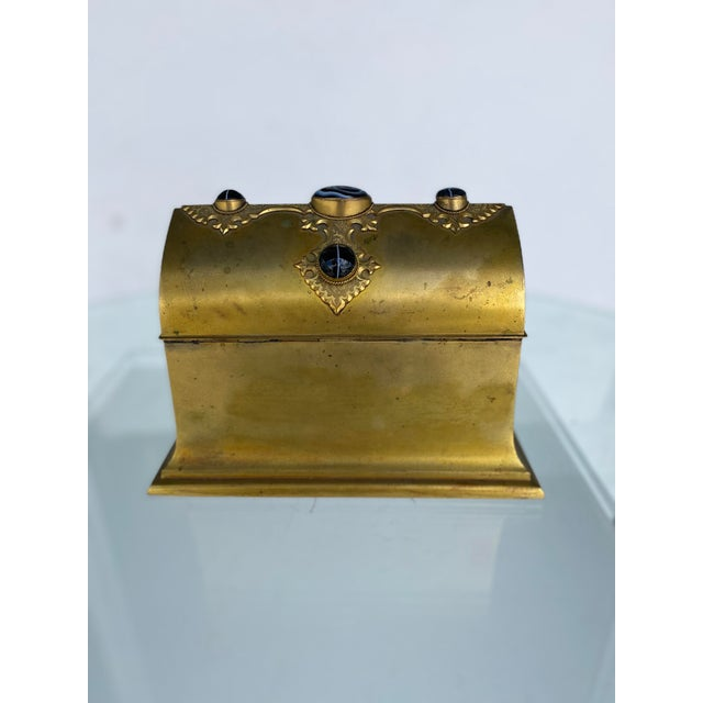 Gilt-Metal Box With Stone Accents For Sale In Miami - Image 6 of 12