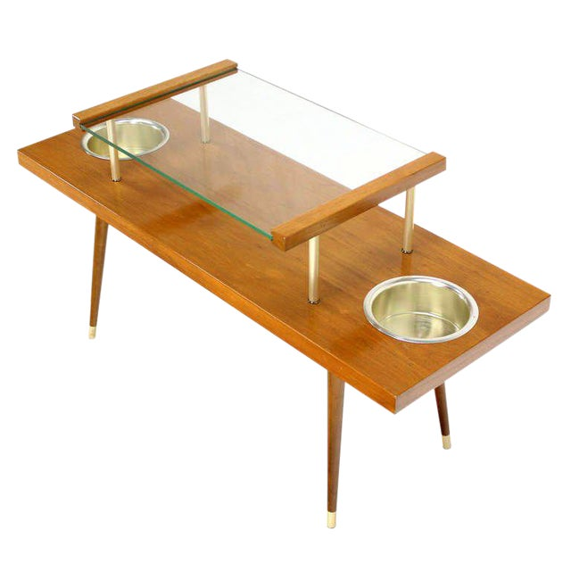 Mid-Century Modern Walnut and Glass-Top Console Table With Planters For Sale - Image 10 of 10