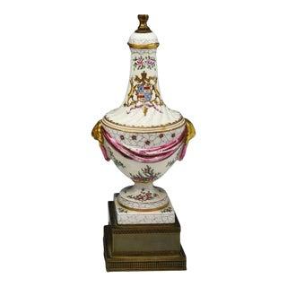 Antique Samson Porcelain Armorial Crest Urn Form Table Lamps - Crawford For Sale