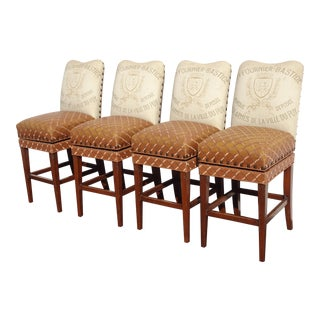 Four Designer French Country Burnt Orange Bar Stools ~ of Dave Mustaine For Sale