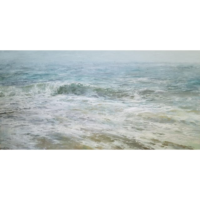 "Wood Beckham Oil Painting ""September Sea"" Large Blue Green Seascape For Sale - Image 7 of 7"