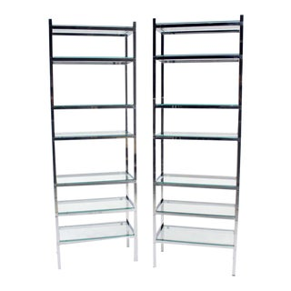 Pair of Tall and Narrow Chrome & Glass Etageres For Sale