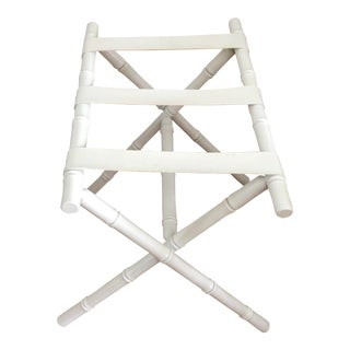 1960s Faux Bamboo Palm Beach Regency Dorothy Draper Inspired Luggage Rack For Sale