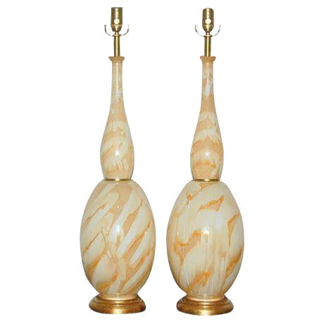 Vintage Italian Glass Table Lamps Peach Swirl For Sale