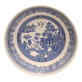 1980's Vintage Spode Bone China Blue Willow Gateau Cake Platter For Sale