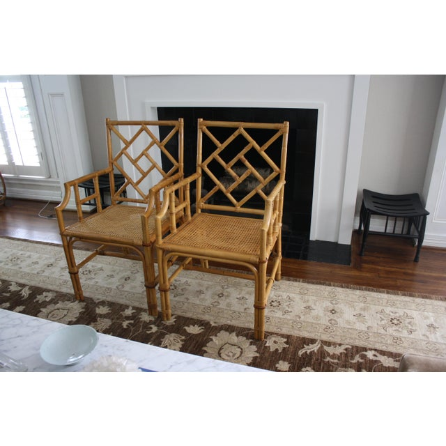 Vintage Palm Beach Style Bamboo Rattan Cane Chippendale Armchairs - a Pair For Sale - Image 12 of 13