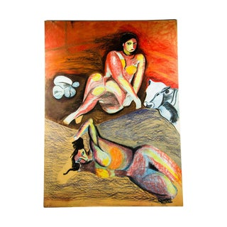 1983 Oversized Female Nude Oil Pastel Painting by Sabina Mirri For Sale