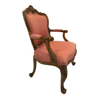 1980s Vintage Regal Louis XVI Style Girard Emilia Hand Carved Italian Armchair For Sale