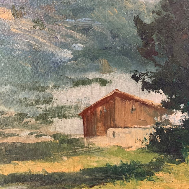 Farmhouse Mid-Century Mountain Valley Landscape, Oil on Canvas For Sale - Image 3 of 9