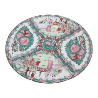 1980s Vintage Hand-Painted Rose Medallion Plate For Sale