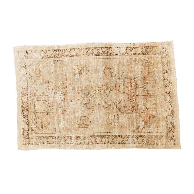 "Vintage Distressed Oushak Rug - 4' x 5'11"" - Image 1 of 10"