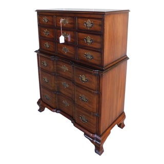 Vintage Kindel Mahogany Chippendale Style Block Front Tall Chest For Sale