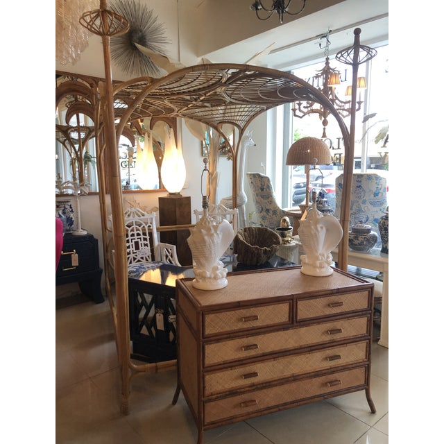 Vintage Tropical Boho Palm Beach Rattan Queen Size Canopy Bed For Sale - Image 12 of 13