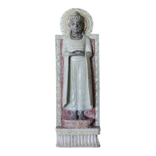 Aged Painted Buddha Statue For Sale