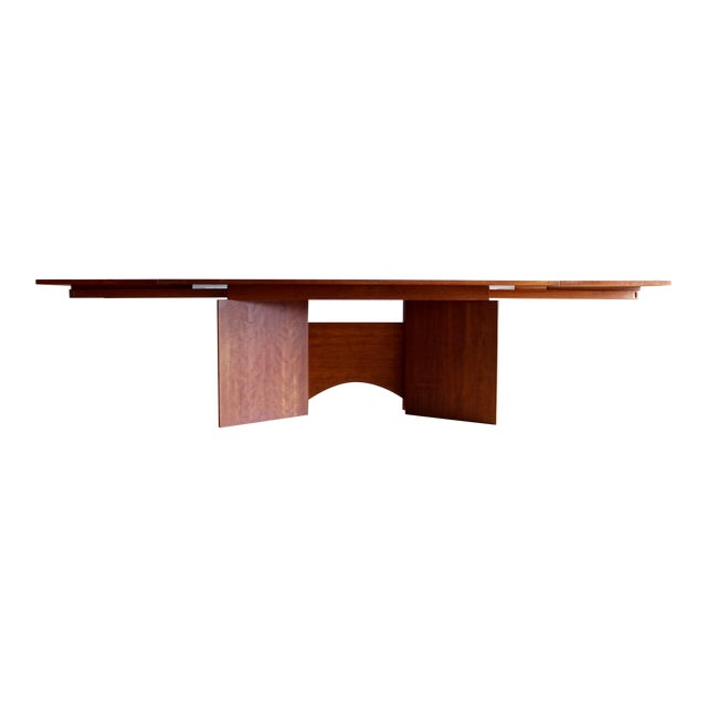 Vintage Custom Usonian Frank Lloyd Wright Taliesin Style Prairie Arts and Crafts Cherry Expanding Dining Table, Seats 8-16+ For Sale