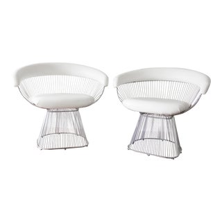 Platner Style White Vinyl Chairs - a Pair For Sale
