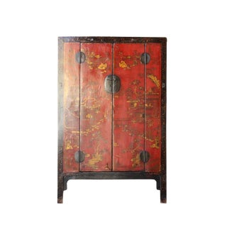 Chinese Vintage Red Golden Scenery Armories Storage Cabinet For Sale