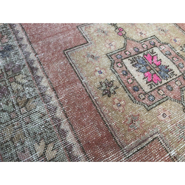 1960s Vintage Faded Turkish Tribal Rug- 4′2″ × 8′3″ For Sale - Image 10 of 11