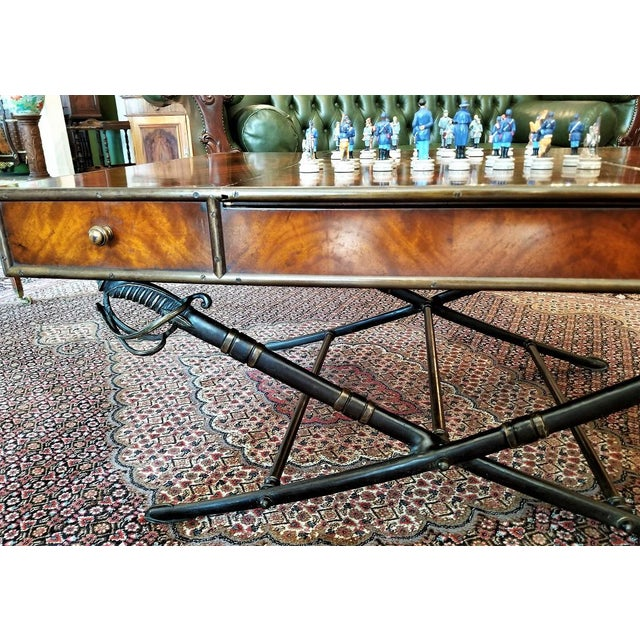 Civil War Themed Mahogany Games Table With Sword Legs For Sale In Dallas - Image 6 of 13