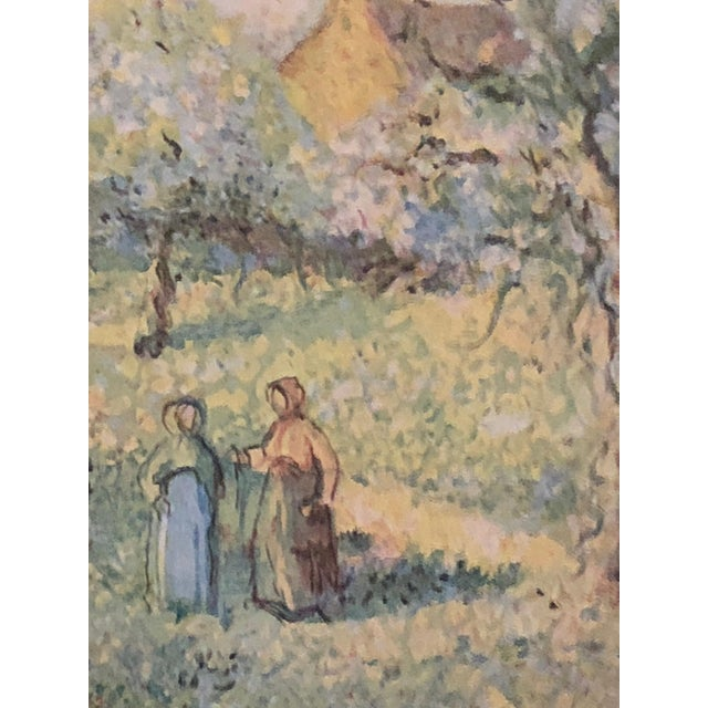 A beautiful pastel colored landscape of trees in bloom (Arbrers en fleurs) with two women walking down a country road....